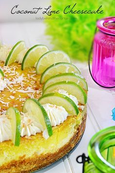 Coconut Lime Cheesecake — One bite of this and you'll feel like you're on a tropical island. Fun Easy Recipes, Best Dessert Recipes, Cookbook Recipes, Fun Desserts, Delicious Desserts, Yummy Food, Party Recipes, Baking Recipes, Lime Recipes