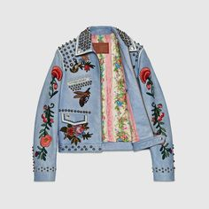 Gucci Men Embroidered leather jacket - Gucci Jacket - Ideas of Gucci Jacket - Gucci Men Embroidered leather jacket Fashion Week, Look Fashion, Womens Fashion, Fashion Styles, Luxury Fashion, Embroidered Leather Jacket, Leather Embroidery, Embroidery Fashion, Gucci Men