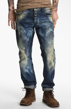 Free shipping and returns on PRPS 'Nautilus Barracuda' Straight Leg Jeans (Indigo) at Nordstrom.com. Straight leg jeans designed with lower set back pockets for a casual, slouchy appearance. A destroyed and well-worn look is achieved by sporadic stains, bleach spots and heavy distressing throughout.