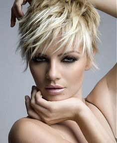 super short piecy blonde ~ I LOVE this, but know I couldn't style my own hair this way...