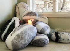 Pebble Pillows around a pretend fire