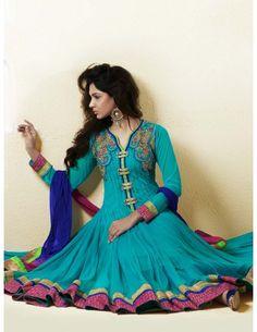 Turquoise Kalidar Churidar Kameez Item code : SLKDH208  http://www.bharatplaza.com/womens-wear/readymade-suits/anarkali-suits/turquoise-kalidar-churidar-kameez-slkdh208.html