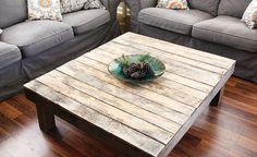 Rustic Reclaimed Wood Large Square Coffee Table - Natural Finish - Made From…
