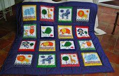 Kinderdecke wilde Tiere Designer, Quilts, Etsy, Blanket, Zoology, Wild Animals, Back Stitch, Round Round, Fabrics
