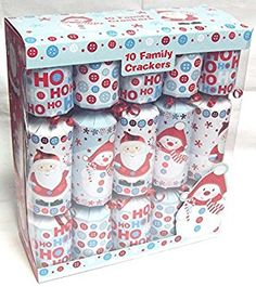 Pack Of 10 Luxury Family Christmas Crackers Cute Blue White Red Santa & Snowman Blue Christmas, Family Christmas, Christmas Crackers, Diaper Bag, Snowman, Red And White, Santa, Packing, Luxury