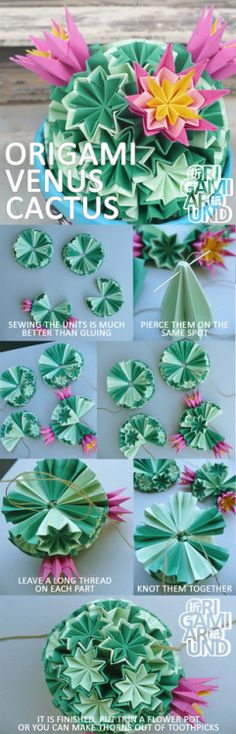 How to make an origami venus kusudama cactus tutorial - Part 3. - Sewing the units together  Part 1. of the tutorial  Part 2. of the tutorial