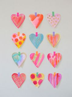 This is the simple and quick way we make watercolor hearts in our house!