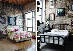 Brick effect wallpaper - Exposed Brick bedroom wall
