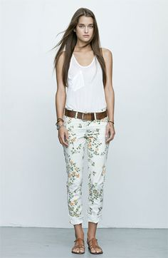 Cuffed floral jeans