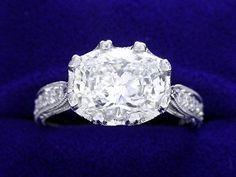 Cushion Cut Diamond Ring: 1.50 carat with 1.27 ratio in Richard Landi mounting