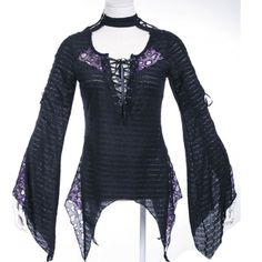 Women Black Purple Animal Print Goth Burlesque Kimono Blouse Tops Clothing SKU-11407062  this with the tail and ears would look awesome