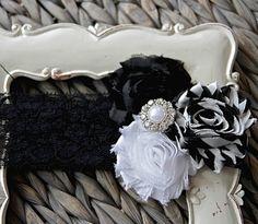 Black, White & Chevron Shabby Chic Headband
