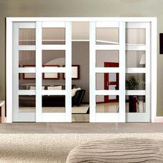From ournew range of sliding doors - Easi-Slide white 4 pane shaker sliding doors. #slidingdoors #directdoors