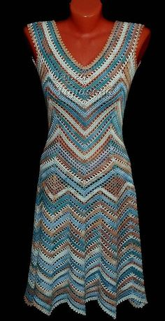 Beautiful crocheted chevron dress. Wow, the link is in Russian, but this is so pretty and I love the colors.