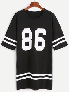 Shop Black Number Print Varsity Striped Tee Dress at ROMWE, discover more fashion styles online. Teen Fashion Outfits, Edgy Outfits, Mode Outfits, Outfits For Teens, Girl Outfits, Cute Comfy Outfits, Crop Top Outfits, Tee Dress, Striped Tee