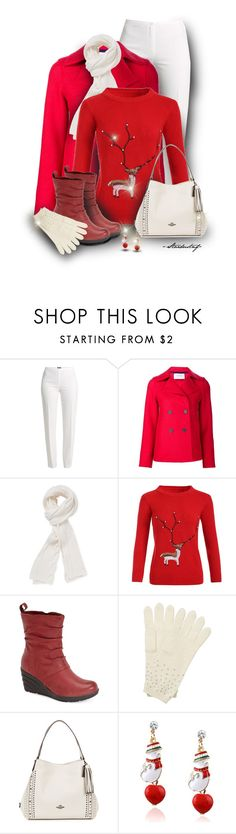 """""""Tis the Season.....for Christmas Sweaters"""" by stardustnf ❤ liked on Polyvore featuring Trilogy, Basler, Harris Wharf London, Stella T., Miz Mooz, Pure Collection, Coach, Christmas, Sweater and redandwhite"""