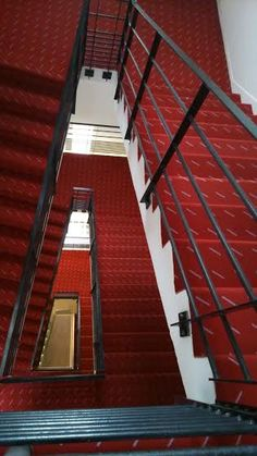diving view of secondary stairs in the famous Salle Pleyel (Paris)