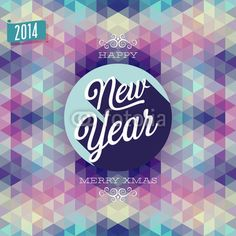 """New Year"" Poster. Vector illustration."