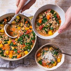 This kale and farro soup from Oprah's new cookbook packs all the vegetables you could want into a flavorful broth with tender grains of farro. (use veggie stock)
