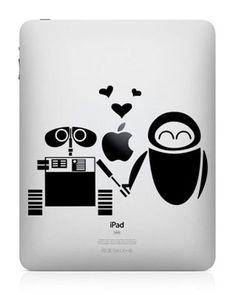 WallE and Eva----iPad decals iPad Stickers Vinyl decal for Apple Mac iPad iPhone Macbook Pro Macbook Air. $7.66, via Etsy.