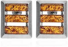 Amber Sterling Silver Rectangles Stud Earrings