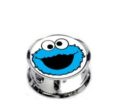 Pair Stainless Steel Cookie Monster Plugs for Stretched Ears - Pick Your Size, Custom Made