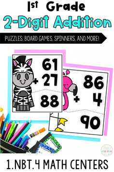 1st grade students will love to practice adding 2-digit numbers within 100 with these fun math centers! They align with 1st grade Common Core standard 1.NBT.4 for students to add two-digit numbers including with and without regrouping. These engaging games and activities are designed to use in math centers and rotations. Includes 4 different math stations: Spinner Games, Adding Animals Math Puzzles, Climb The Ladder, and Adding on a Number Line. Get these 1st grade addition centers today!