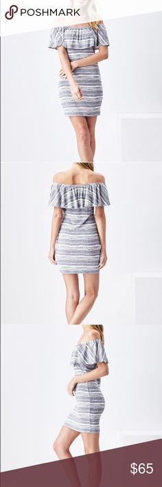 """Off Shoulder Body Con Dress with Ruffle Chest COMING SOON """"Natalie Dress"""" Off Shoulder Body Con Mini Dress with Ruffle Chest. 51% Rayon, 44% Poly, 5% Spandex. Sadie & Sage Dresses Mini"""