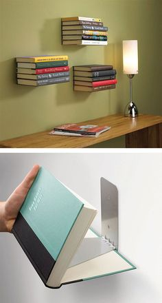 Creative Bookcase & DIY Bookshelf Ideas [Beautify Your Home] Cheap Bookshelves, Creative Bookshelves, Floating Bookshelves, Bookshelf Design, Floating Wall Shelves, Bookshelf Ideas, Modern Bookshelf, Bookshelf Styling, Book Shelves