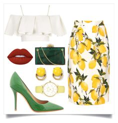 """""""when life gives u lemons"""" by nvyymd ❤ liked on Polyvore featuring Dolce&Gabbana, Topshop, Salvatore Ferragamo, Lime Crime, Charlotte Olympia, Stella & Dot and Kate Spade"""