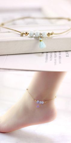 Spring Ceramic Jewelry Diy Knitted Handmade Anklets Boho Style For Woman Girl Accessories Red Yellow Blue Beads Bell Anklets Jewelry & Accessories