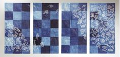 "Cycle Of Renewal by Akemi Nankano Cohn, Japanese Rice paper with indigo. hand cut and constructed 58"" x 120"""