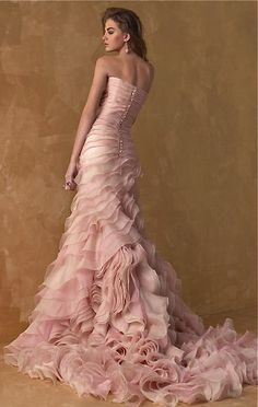Pink ruched ruffled wedding gown