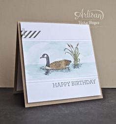 Stampin' Up ideas and supplies from Vicky at Crafting Clare's Paper Moments: Male birthday card using Moon Lake by Stampin' Up