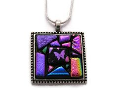Framed Art Dichroic Glass Pendant - by Dichroic Creations