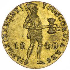 Wilhelm II. 1840 - 1849 Dukat 1840 Gold Av: Ritter mit Pfeilbündel und Schwert zwischen Jahreszahl, Rv: Schrifttafel in Verzierung , Utrecht