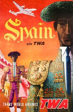 Klein, David poster: Spain - Fly TWA (jet)