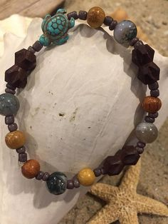 Beachy earthy style anklet  Wooden beads stone beads seed