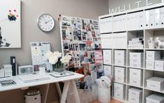 All white office with huge inspiration board