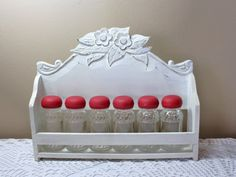 Vintage Floral Spice Rack with Shakers, Shabby Chic Spice Shaker, Wooden Rack, Vintage Floral, Vintage Kitchen, Spices, Shabby Chic, Things To Come, Handmade, Stuff To Buy