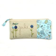 blue personalized clutch, mother of the bride, personalized gift, wedding keepsake, bridal purse MADE TO ORDER for her. $38.00, via Etsy.