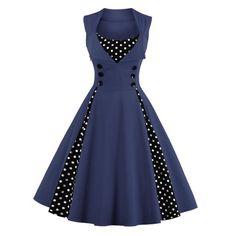 $18.85 Midi Polka Dot Prom Rockabilly Swing Dress Vintage Prom Dresses - Purplish Blue