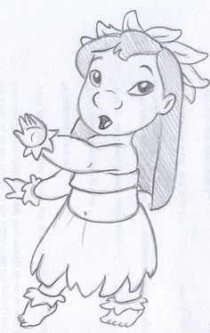 disney sketch - lilo dancing hula