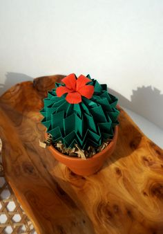 Forever Green Origami Red Blossom Cactus Succulent by JoyfulArray