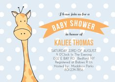 Peeping Giraffe Baby Shower Invitation