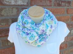 Floral Scarf, Blue Purple White, Infinity Scarf, Lightweight Scarf, Gifts Under 25, Womens Scarves, Circle Scarf, Gifts for Her Christmas by foreverandrea on Etsy