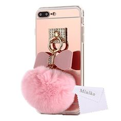 Mirror Ball iPhone 7 Plus Case for Women, Miniko(TM) Cute 3D Bunny Bling Fur Fluffy Pom Pom Keychain Furry PC & TPU Phone Case Back Cover With Mirror for Apple iPhone 7 Plus - Pink