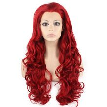 """26"""" Long Red Body Wavy Lace Front Synthetic Hair Cosplay Wig High Quality Heat…"""