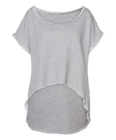 Look at this Gray Calm Organic Cutoff Organic Hi-Low Tee on #zulily today!