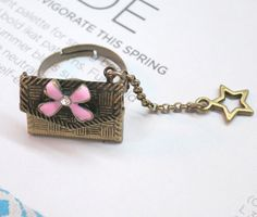 Vintage Brass Open Envelope Ribbon Star Ring by AccessoriesG, $2.30
